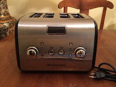 KitchenAid Architect 4 Slice Toaster with LCD Display KMT423OB Silver