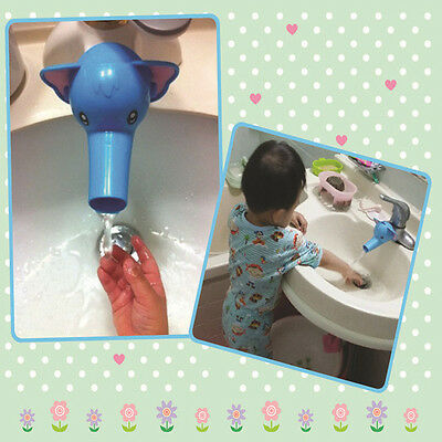 Cartoon Blue Elephant Shape Type Baby Washing Hand Water Tap Faucet Extender