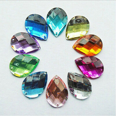 30Pcs Acrylic Teardrop Flatback Sewing Rhinestone Button 10X14mm Sew on Beads