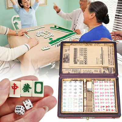 Vintage Mahjong Rare 144 Tiles Mah-Jong Set Bamboo Piece w/ English Instruction