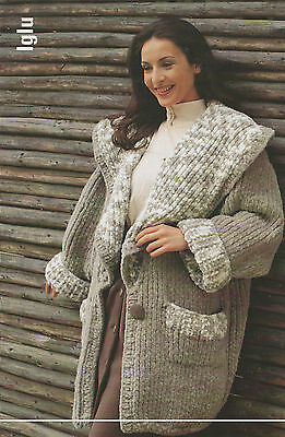 Knitting Pattern Womens Long Sweater Coats Austermann Wolle Fashion 4 Designs