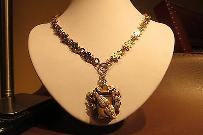 Fabulous Gold Filled Book Chain Necklace w/Tri-Color Mourning Pendant 51g