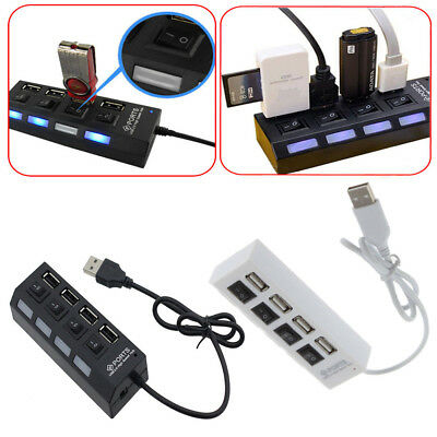New 4 Port USB 2.0 High Speed External Multi Expansion Hub with ON OFF Switch GB