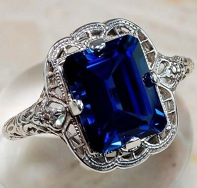 925 Sterling Silver Princess Cut Sapphire Wedding Engagement Ring Women Jewelry