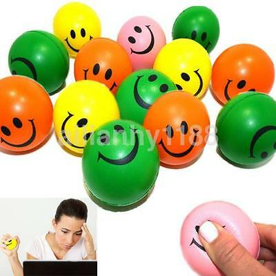 2Pc Smiley Face Hand Wrist Finger Exercise Stress Relief Therapy Squeeze Ball UK