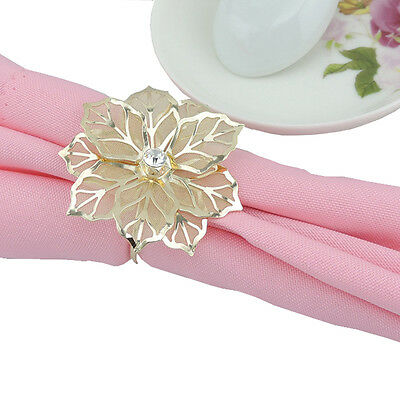 12x 3D flower Glod Napkin Rings Handmade Serviette Buckle Holder Wedding Dinner