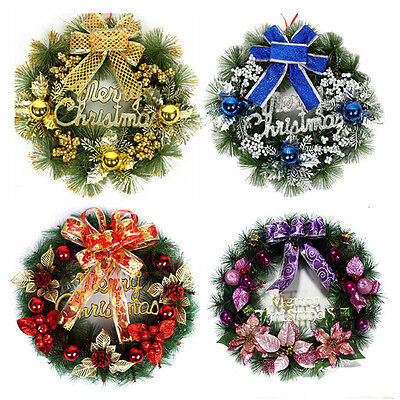Christmas Wreath with Bow Handcrafted Holiday Wreath for the Front Door  LE