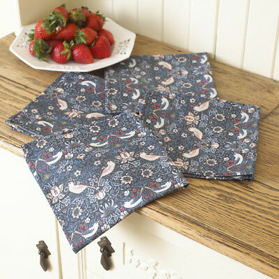 William Morris Strawberry Thief Pack of 4 Floral Cotton Napkins