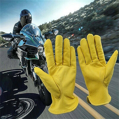 New Cowhide Sports Racing Motorcycle Gloves Work Gloves Yellow Ski Hiking Gloves