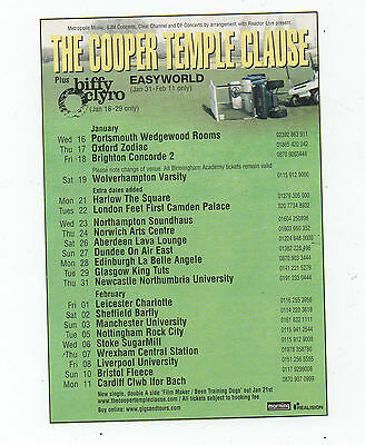 """THE COOPER TEMPLE CLAUSE - ORIGINAL + RARE TOUR DATE Advert - Approx. 6"""" by 4"""""""