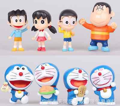 8PCS Figures Doraemon Nobita Shizuka Toppers Dolls Toys Kids Gifts Collection