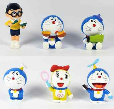 Lot of 6pcs Doraemon PVC Mini Figures Figurines Kids Toy Doll Gifts Toppers Set
