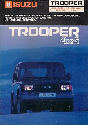 Isuzu Trooper 1989 UK Market Sales Brochure Duty Citation 2.6 2.8TD SWB LWB