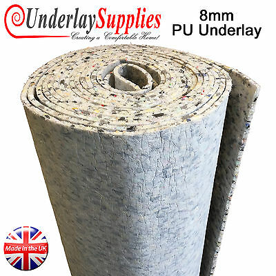 8mm Thick PU Carpet Underlay Full Roll 15m2 UK Manufactured Luxury Feel CHEAP