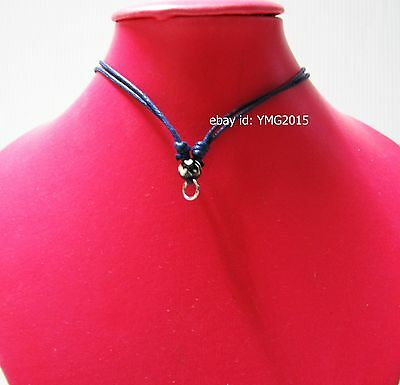 """ 3 pcs.Necklace for Amulet Pendant 1 hook "" Adjustable Handmade DARK-BLUE Rope"