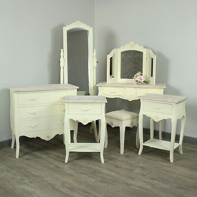 cream French country bedroom furniture chest dressing table bedside mirror stool