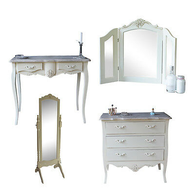 Cream Wooden Bedroom Set Dressing Table Mirror Chest Drawers Shabby French Chic