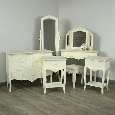 Cream Wooden Dressing Table Mirrors Drawers Bedsides Bedroom Shabby French Chic