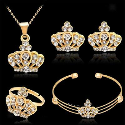 Wedding Jewelry Set Crown Gold Crystal Necklace Bracelet Bangle Earring Ring