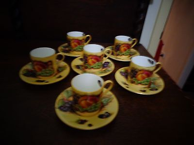 setting of 6 signed ansley orchard gold coffee cups and saucers