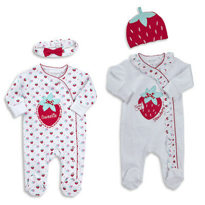 Newborn Infant Baby Girls Strawberry Sleepsuit Outfit 2 Piece Set Hat Headband