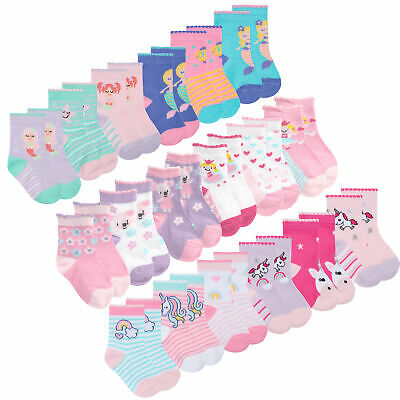 Baby Girls Cotton Scallop Edge Socks 9 Pair Novelty Cartoon Multipack Size 0-5.5