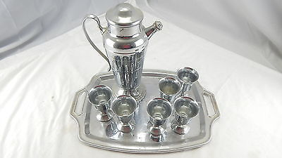 Vintage Farberware Bar Cocktail Service Set For 6 Cups Tray Pitcher