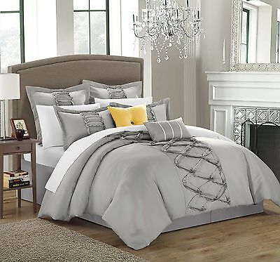 Chic Home 8-Piece Ruth Ruffled Comforter Set Queen Silver