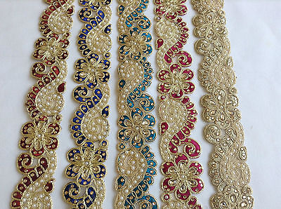 Gold Lace Trim Pearl Beaded Indian Asian Lace Trim Dress Sewing Trimmings Bridal