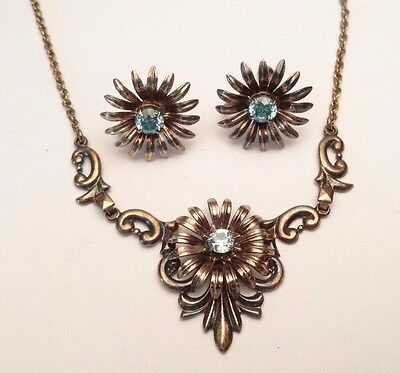 VINTAGE ART NOUVEAU SYMMETALIC 14k STERLING SILVER TOPAZ NECKLACE EARRINGS SET