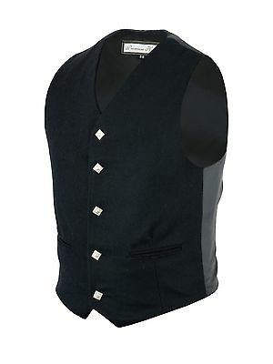 100% Wool 5 Button Black Waistcoat Scotish Prince Charlie, Argyle Kilt/wedding