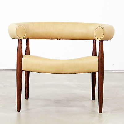 """Nanna Ditzel """"Ring"""" Easy Chair with Aniline Leather - 1960s"""
