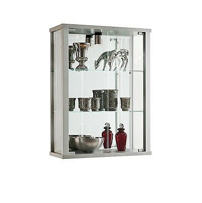 Home Or Retail Lockable Wall Mounted Glass Display Cabinet Various Colours