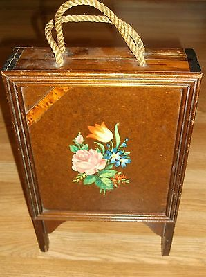 """Vintage Primitive Standing Folding Wood Sewing Box W/notions! Aprox 18""""h"""