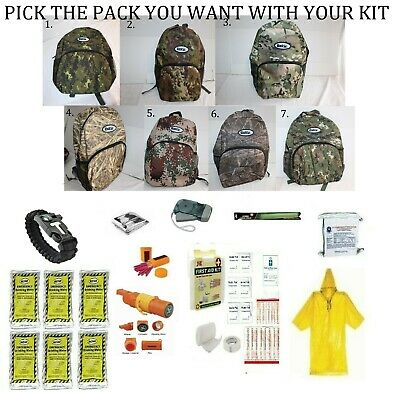 3 Day Backpack Disaster Emergency Survival Kit Earthquake Food Water Whistle NEW