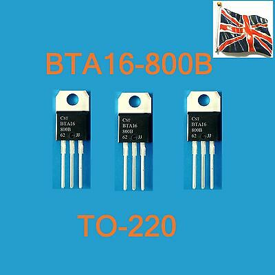 3x BTA16-800B TRIAC 16A 800V BTA16800B STM TO-220 UK STOCK