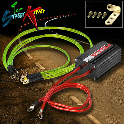 High Performance Auto/car Voltage Stabilizer Black + Ground Wire Earth Kit Gold