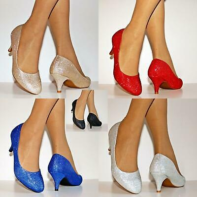 Womens Ladies Low Kitten Heel Evening Party Bridal Court Shoes Pumps Size/8-19