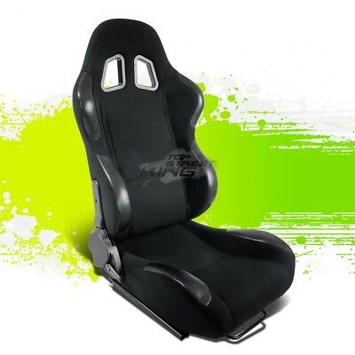 2X Pvc Leather Carbon Look Jdm Sports Racing Seats+Adjustable Sliders Right Side