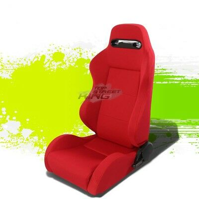 Pair Type-R Red Reclinable Jdm Sports Racing Seats+Adjustable Slider Driver Side