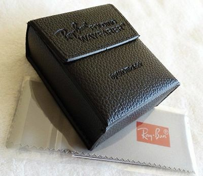 New RayBan Black Wayfarer Folding Sunglasses Case w/ cleaning cloth