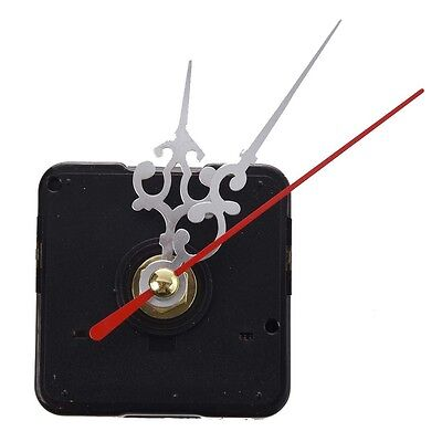 Clock Movement Mechanism & Silver Hour Minute Red Second Hand DIY Tools Kit LW