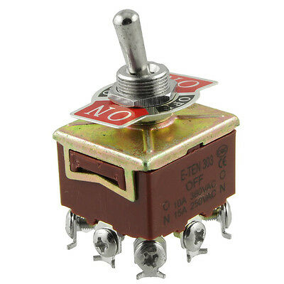 3PDT On/Off/On 3 Postion 9 Screw Terminals Toggle Switch AC 250V 15A LW