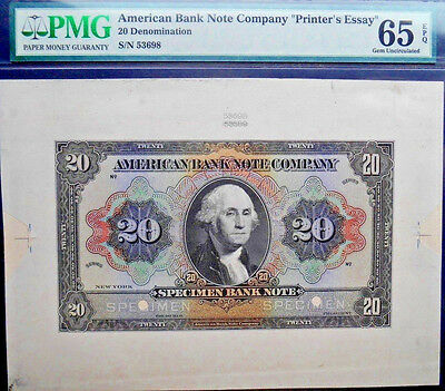 $20 **SPECIMEN** American Bank Note Company PMG 65 epq Only 1 known !!!