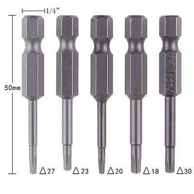 5xt Magnetic Triangle Heads  Screwdriver Bits S2 Steels 1/4 Hex Shank
