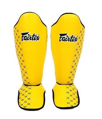 Fairtex Competition Shin Guards / In Steps SP5 Yellow Large Muay Thai MMA Boxing