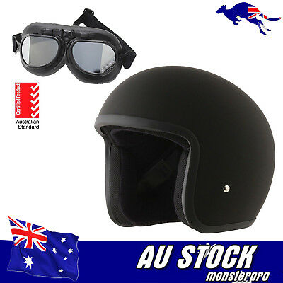 Motorcycle Helmet Matt Old Style Black Approved Open Face Helmet + Goggle