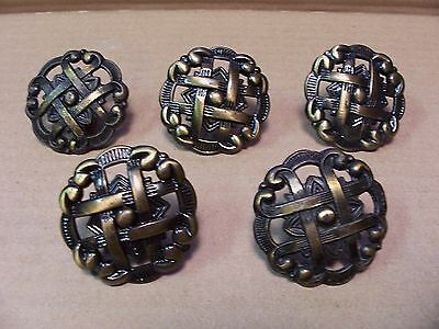 (5) Vintage Brass Finish Drawer Pulls / Knobs -- Screws Included