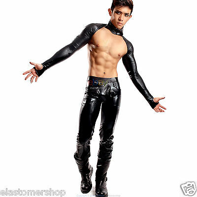 Mens Sexy Compression Tights Sexy Dance Party Shoulder Vest Top Long Sleeves