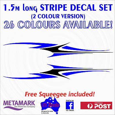 1.5m STRIPE #2 STRIPING 2 colour marine grade decal set.Boat,Car,Caravan graphic